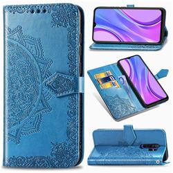 Embossing Imprint Mandala Flower Leather Wallet Case for Xiaomi Redmi 9 - Blue