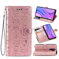 Embossing Dog Paw Kitten and Puppy Leather Wallet Case for Xiaomi Redmi 9 - Rose Gold