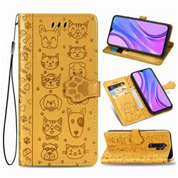 Embossing Dog Paw Kitten and Puppy Leather Wallet Case for Xiaomi Redmi 9 - Yellow