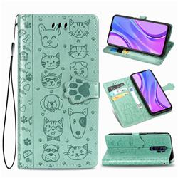 Embossing Dog Paw Kitten and Puppy Leather Wallet Case for Xiaomi Redmi 9 - Green