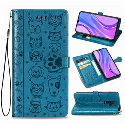 Embossing Dog Paw Kitten and Puppy Leather Wallet Case for Xiaomi Redmi 9 - Blue