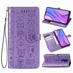 Embossing Dog Paw Kitten and Puppy Leather Wallet Case for Xiaomi Redmi 9 - Purple
