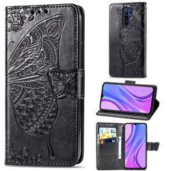 Embossing Mandala Flower Butterfly Leather Wallet Case for Xiaomi Redmi 9 - Black