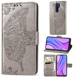 Embossing Mandala Flower Butterfly Leather Wallet Case for Xiaomi Redmi 9 - Gray