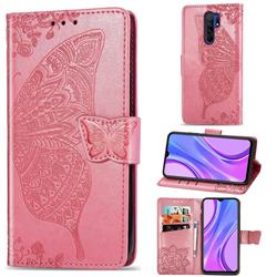 Embossing Mandala Flower Butterfly Leather Wallet Case for Xiaomi Redmi 9 - Pink