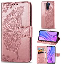 Embossing Mandala Flower Butterfly Leather Wallet Case for Xiaomi Redmi 9 - Rose Gold