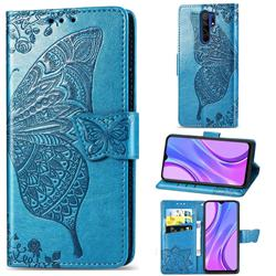 Embossing Mandala Flower Butterfly Leather Wallet Case for Xiaomi Redmi 9 - Blue