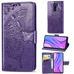 Embossing Mandala Flower Butterfly Leather Wallet Case for Xiaomi Redmi 9 - Dark Purple