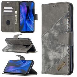 BinfenColor BF04 Color Block Stitching Crocodile Leather Case Cover for Xiaomi Redmi 9 - Gray