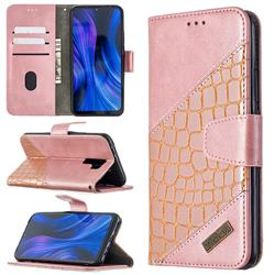 BinfenColor BF04 Color Block Stitching Crocodile Leather Case Cover for Xiaomi Redmi 9 - Rose Gold