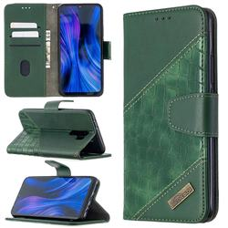 BinfenColor BF04 Color Block Stitching Crocodile Leather Case Cover for Xiaomi Redmi 9 - Green