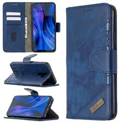 BinfenColor BF04 Color Block Stitching Crocodile Leather Case Cover for Xiaomi Redmi 9 - Blue