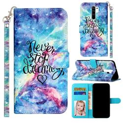 Blue Starry Sky 3D Leather Phone Holster Wallet Case for Xiaomi Redmi 9