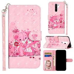 Pink Bear 3D Leather Phone Holster Wallet Case for Xiaomi Redmi 9