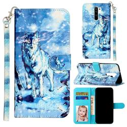 Snow Wolf 3D Leather Phone Holster Wallet Case for Xiaomi Redmi 9