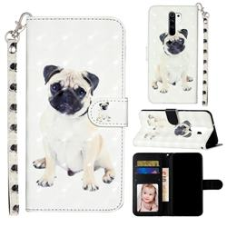 Pug Dog 3D Leather Phone Holster Wallet Case for Xiaomi Redmi 9
