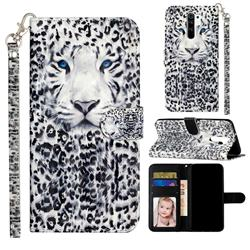 White Leopard 3D Leather Phone Holster Wallet Case for Xiaomi Redmi 9