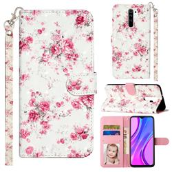 Rambler Rose Flower 3D Leather Phone Holster Wallet Case for Xiaomi Redmi 9