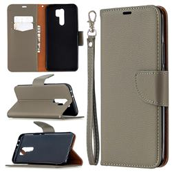 Classic Luxury Litchi Leather Phone Wallet Case for Xiaomi Redmi 9 - Gray