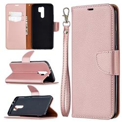 Classic Luxury Litchi Leather Phone Wallet Case for Xiaomi Redmi 9 - Golden