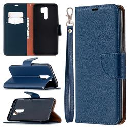 Classic Luxury Litchi Leather Phone Wallet Case for Xiaomi Redmi 9 - Blue