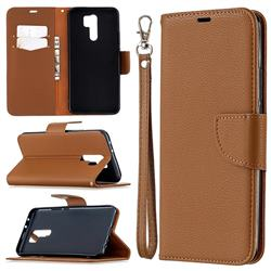 Classic Luxury Litchi Leather Phone Wallet Case for Xiaomi Redmi 9 - Brown