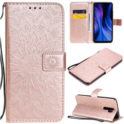 Embossing Sunflower Leather Wallet Case for Xiaomi Redmi 9 - Rose Gold