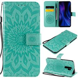 Embossing Sunflower Leather Wallet Case for Xiaomi Redmi 9 - Green