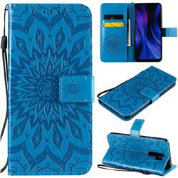 Embossing Sunflower Leather Wallet Case for Xiaomi Redmi 9 - Blue