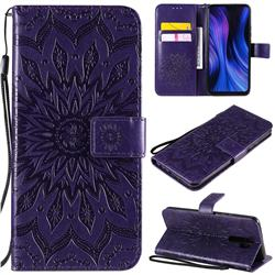 Embossing Sunflower Leather Wallet Case for Xiaomi Redmi 9 - Purple