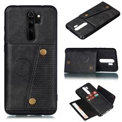 Retro Multifunction Card Slots Stand Leather Coated Phone Back Cover for Xiaomi Redmi 9 - Black