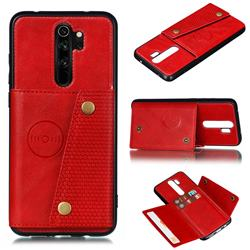 Retro Multifunction Card Slots Stand Leather Coated Phone Back Cover for Xiaomi Redmi 9 - Red