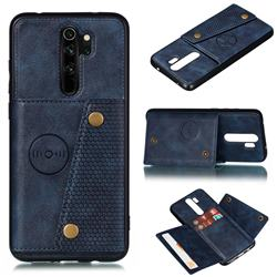 Retro Multifunction Card Slots Stand Leather Coated Phone Back Cover for Xiaomi Redmi 9 - Blue