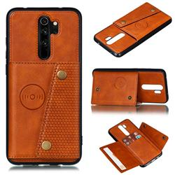 Retro Multifunction Card Slots Stand Leather Coated Phone Back Cover for Xiaomi Redmi 9 - Brown