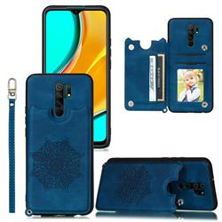 Luxury Mandala Multi-function Magnetic Card Slots Stand Leather Back Cover for Xiaomi Redmi 9 - Blue