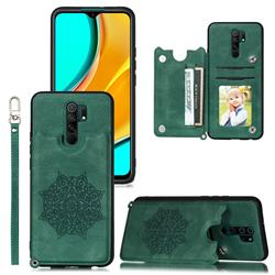 Luxury Mandala Multi-function Magnetic Card Slots Stand Leather Back Cover for Xiaomi Redmi 9 - Green