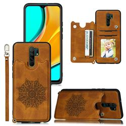 Luxury Mandala Multi-function Magnetic Card Slots Stand Leather Back Cover for Xiaomi Redmi 9 - Brown