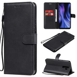 Retro Greek Classic Smooth PU Leather Wallet Phone Case for Xiaomi Redmi 9 - Black