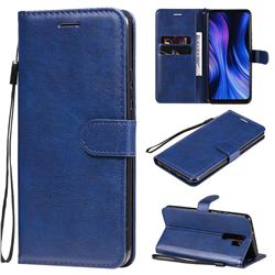 Retro Greek Classic Smooth PU Leather Wallet Phone Case for Xiaomi Redmi 9 - Blue