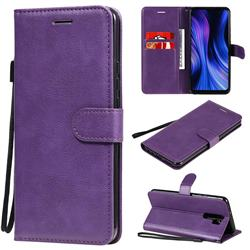 Retro Greek Classic Smooth PU Leather Wallet Phone Case for Xiaomi Redmi 9 - Purple