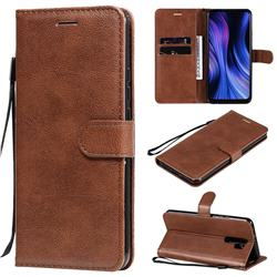 Retro Greek Classic Smooth PU Leather Wallet Phone Case for Xiaomi Redmi 9 - Brown