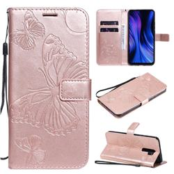 Embossing 3D Butterfly Leather Wallet Case for Xiaomi Redmi 9 - Rose Gold