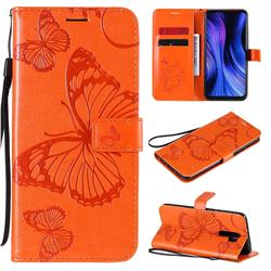 Embossing 3D Butterfly Leather Wallet Case for Xiaomi Redmi 9 - Orange