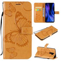 Embossing 3D Butterfly Leather Wallet Case for Xiaomi Redmi 9 - Yellow