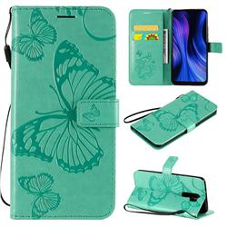 Embossing 3D Butterfly Leather Wallet Case for Xiaomi Redmi 9 - Green