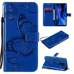Embossing 3D Butterfly Leather Wallet Case for Xiaomi Redmi 9 - Blue