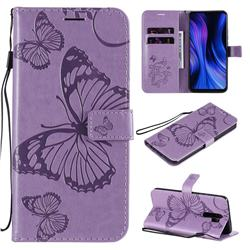 Embossing 3D Butterfly Leather Wallet Case for Xiaomi Redmi 9 - Purple