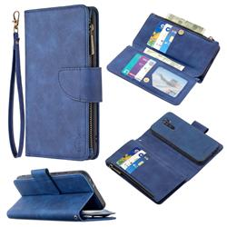 Binfen Color BF02 Sensory Buckle Zipper Multifunction Leather Phone Wallet for Xiaomi Redmi 9 - Blue