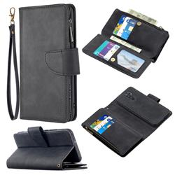 Binfen Color BF02 Sensory Buckle Zipper Multifunction Leather Phone Wallet for Xiaomi Redmi 9 - Black