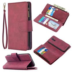 Binfen Color BF02 Sensory Buckle Zipper Multifunction Leather Phone Wallet for Xiaomi Redmi 9 - Red Wine